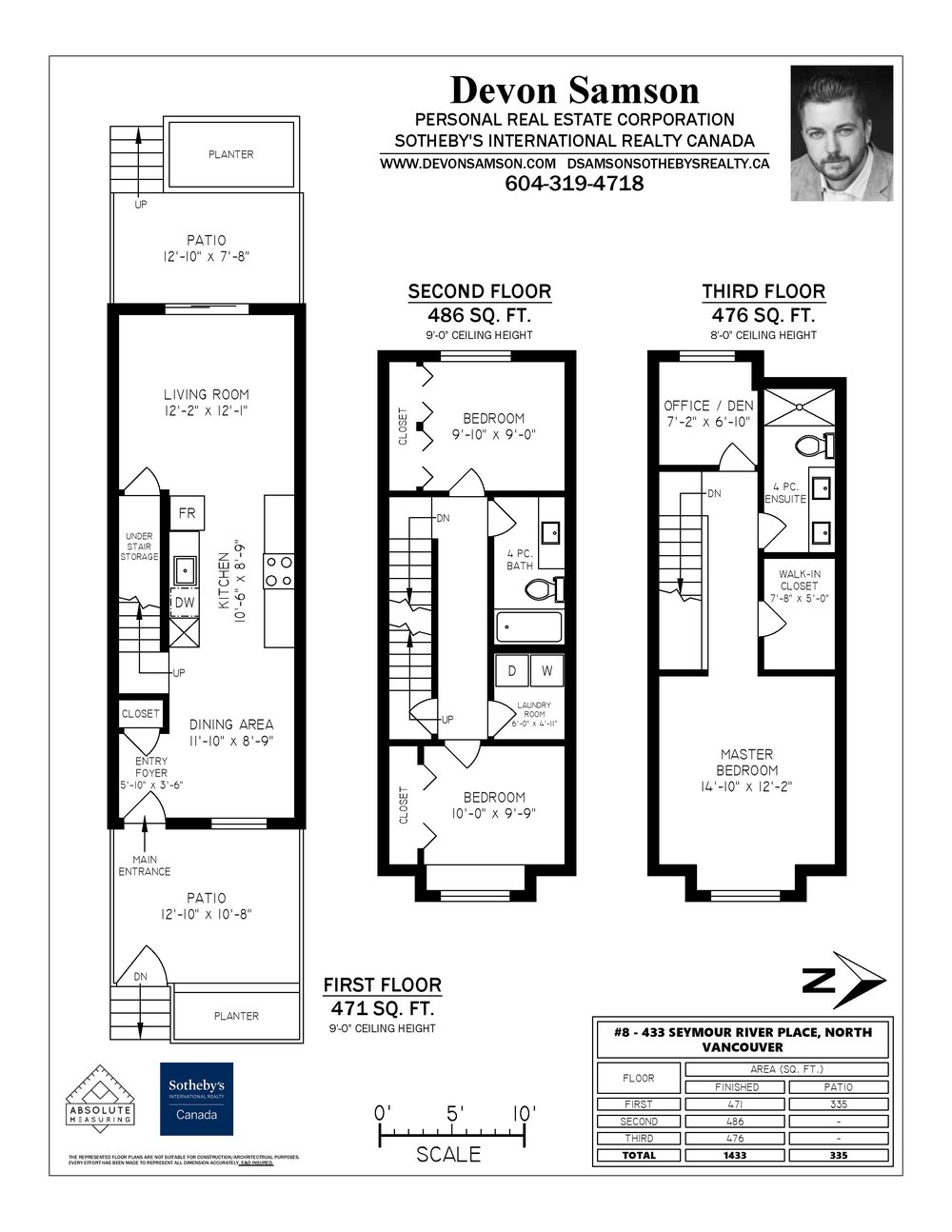 Floor Plan for a 3 Bedroom Townhouse in