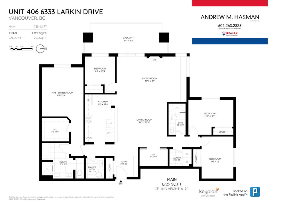 Floor Plan for a 4 Bedroom Apartment in Vancouver