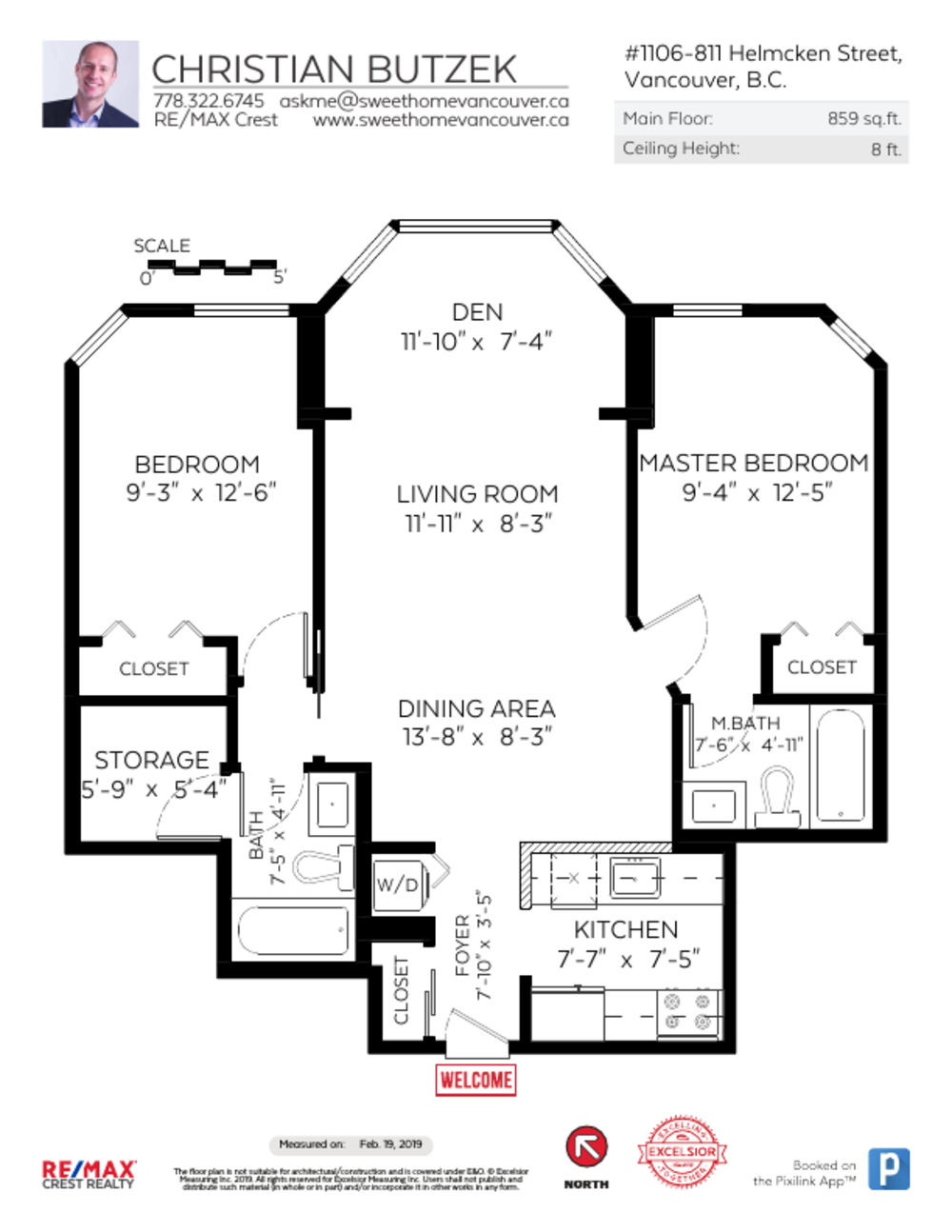 Floor Plan for a 2 Bedroom Apartment in Vancouver
