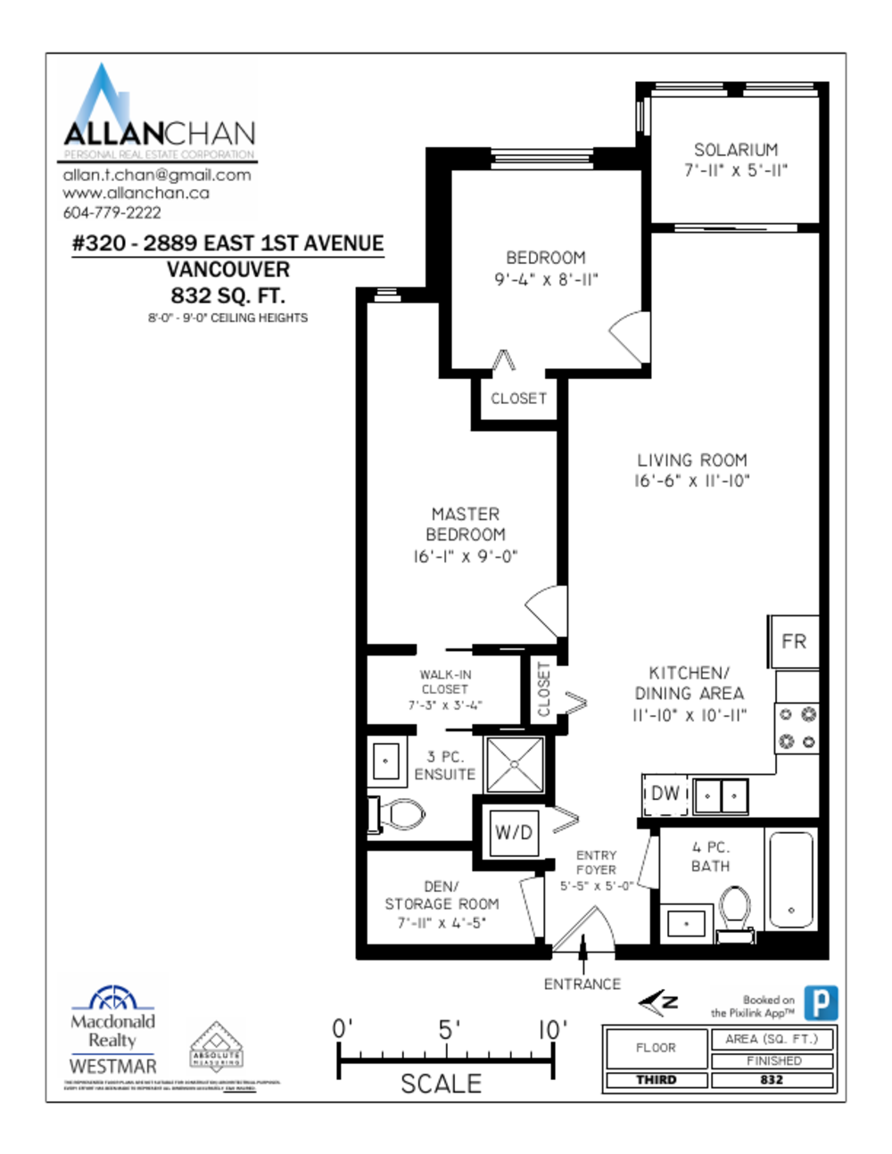 Floor Plan for a 3 Bedroom Apartment in Vancouver