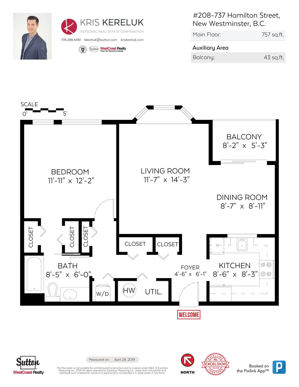Floor Plan for a 1 Bedroom Apartment in