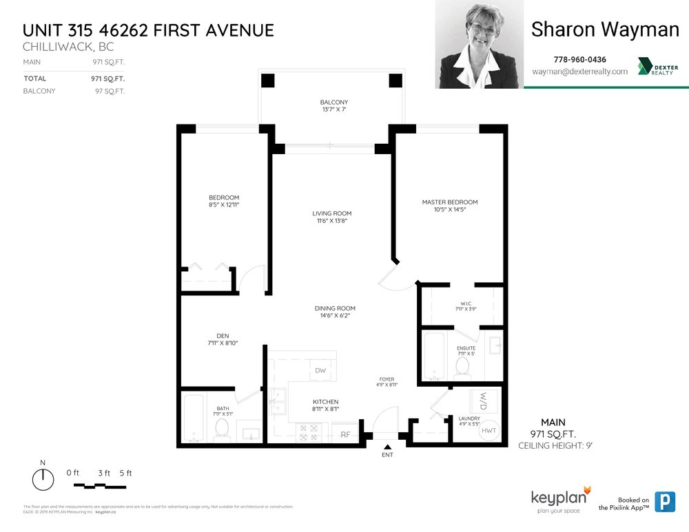 Floor Plan for a 2 Bedroom Apartment in