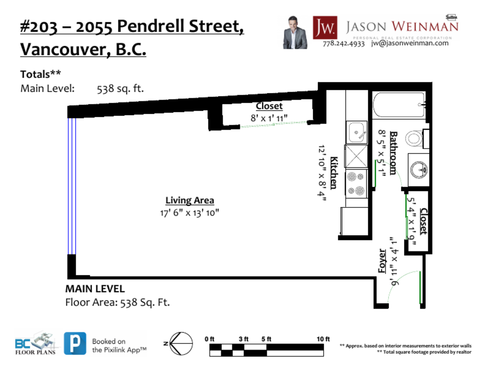 Floor Plan for a Studio Apartment in Vancouver