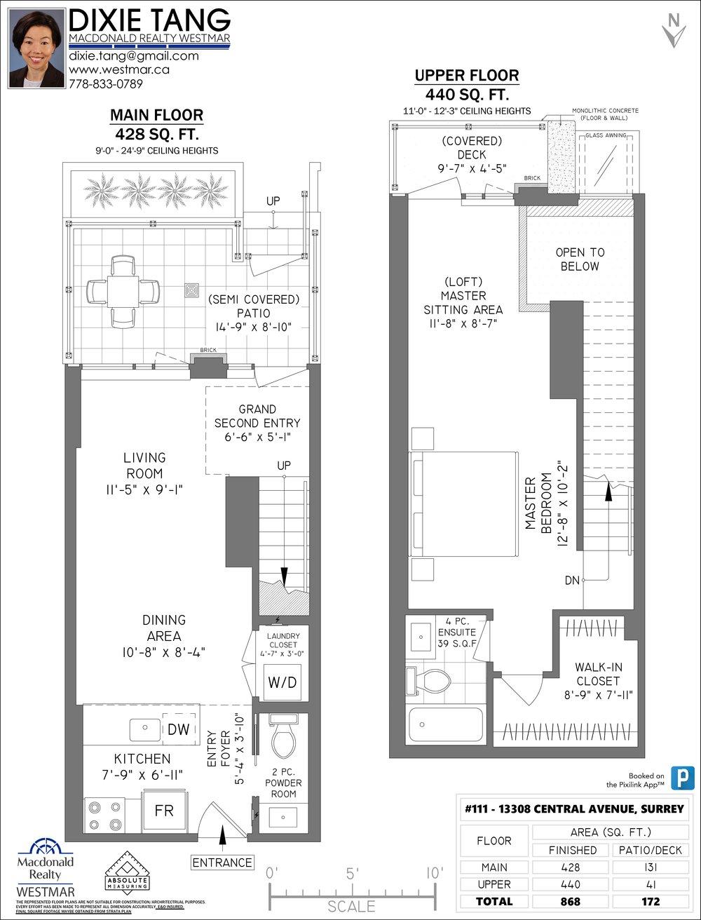 Floor Plan for a 1 Bedroom Townhouse in