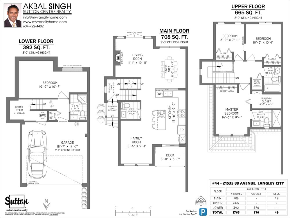 Floor Plan for a 4 Bedroom Townhouse in