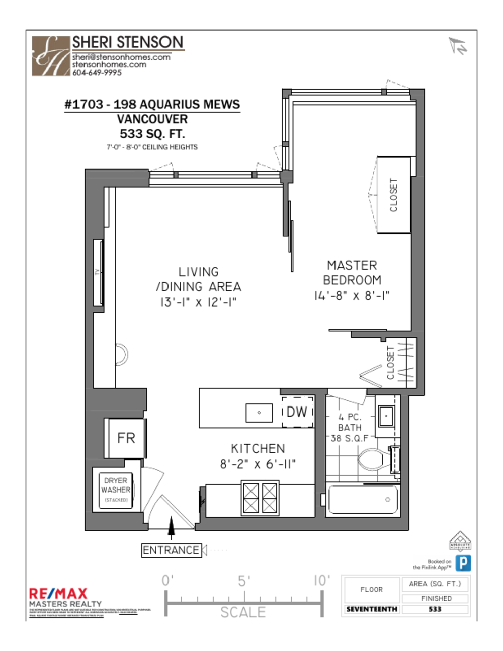 Floor Plan for a 1 Bedroom Apartment in Vancouver