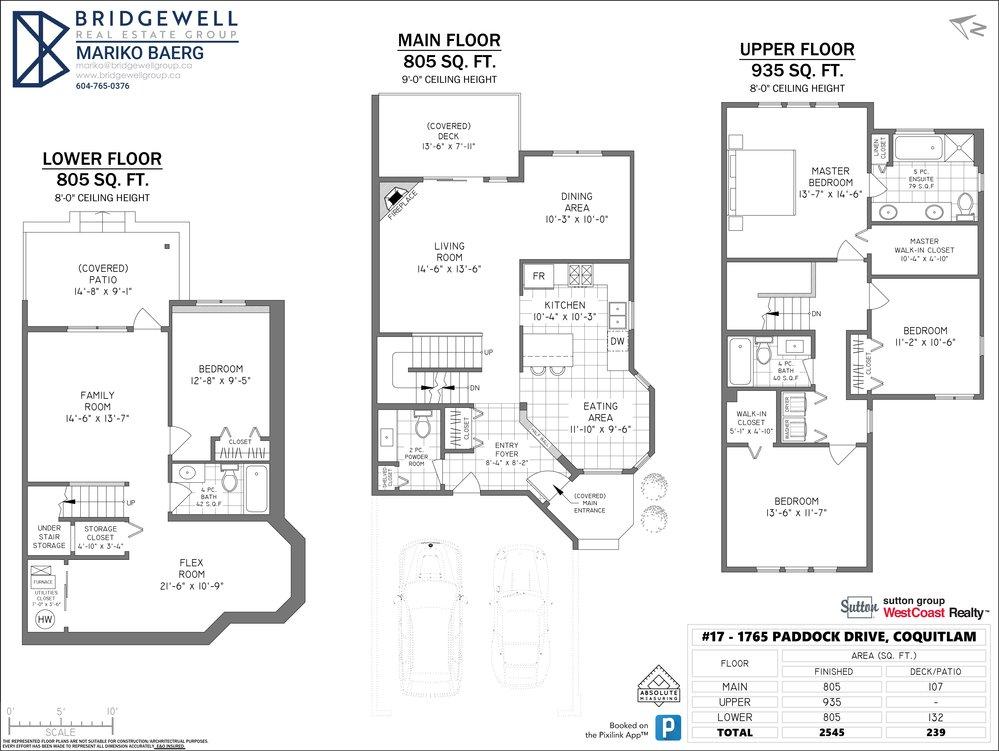 Floor Plan for a 4 Bedroom Townhouse in