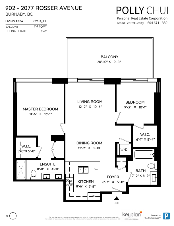 902 2077 Rosser Avenue Burnaby Floor Plan Listed By Polly Chui