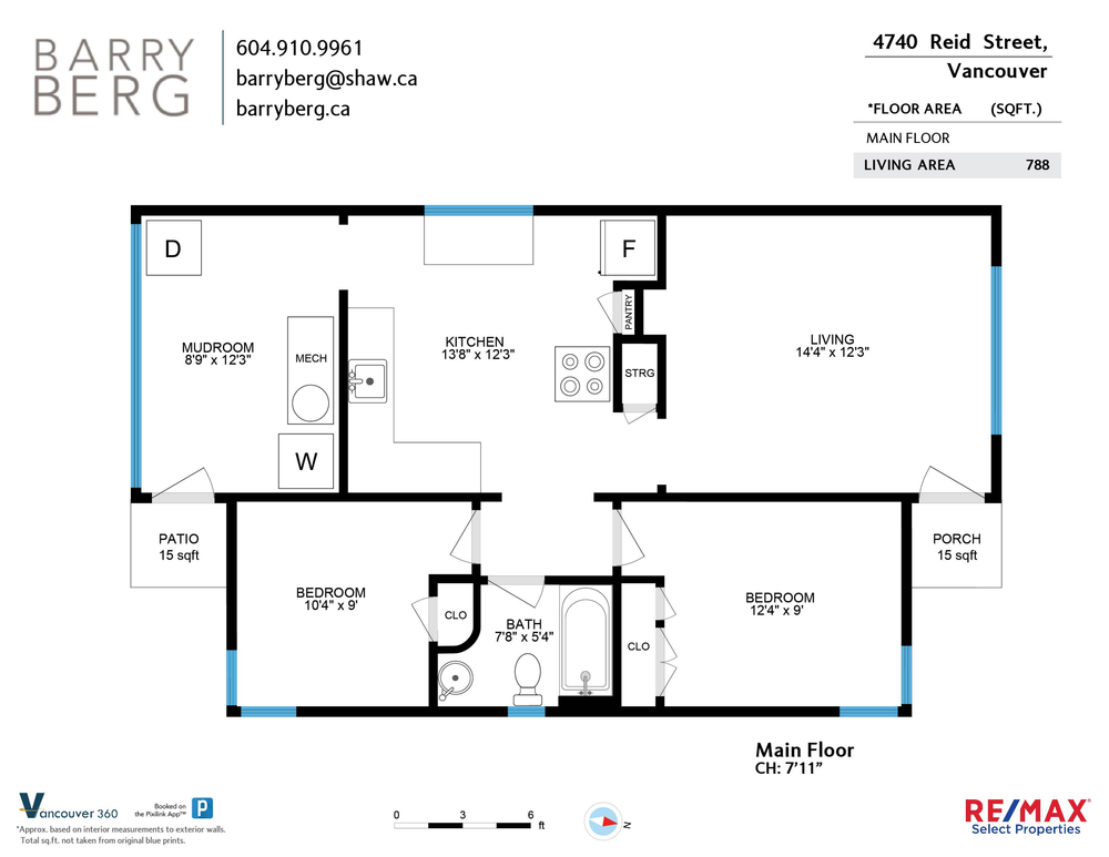 Floor Plan for a 2 Bedroom House in Vancouver