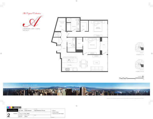 floor 31 to 36  plan 01  2 bedroom and den 1010 sf (PDF)